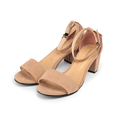 (女) YOUNG COLOR 素雅絨布粗跟淑女涼鞋 卡其 女鞋 鞋全家福