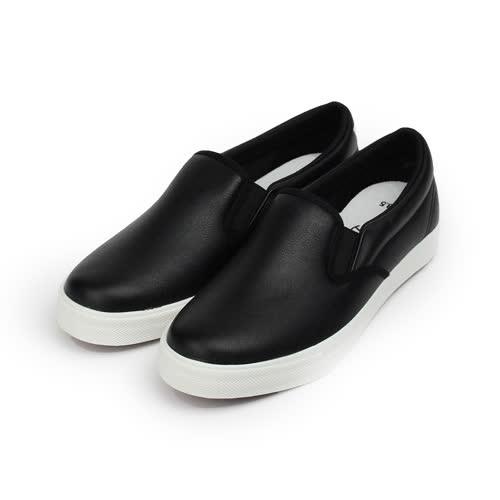 (女) GIOVANNI VALENTINO 仿皮素面百搭套式休閒鞋 黑 女鞋 鞋全家福