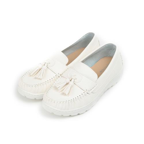 (女) YOUNG COLOR 仿皮流蘇平底鞋 白 女鞋 鞋全家福