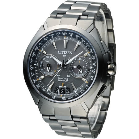 CITIZEN Eco-Drive 王者旗艦衛星對時鈦金屬腕錶-IP灰(CC1085-50E)