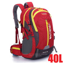 【LOCAL LION】大容量防水運動雙肩包(40L).透氣運動背包.自助旅行背包.雙肩後背包/防潑水.抗撕裂/477 紅