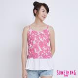 SOMETHING 夏日芭蕉葉荷葉裙擺細肩帶背心-女-桃紅色