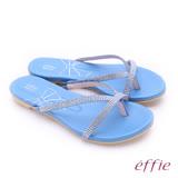 effie 魔法戀情  絨面羊皮閃耀水鑽交叉設計夾腳拖鞋(藍)