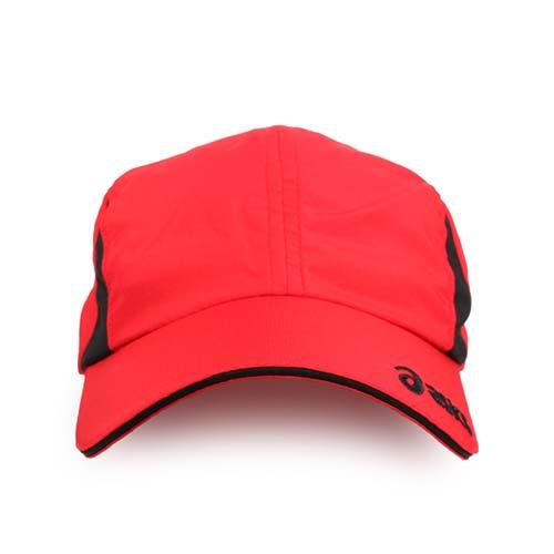 ASICS 運動帽-慢跑 路跑 帽子 鴨舌帽 防曬 亞瑟士 紅黑 F