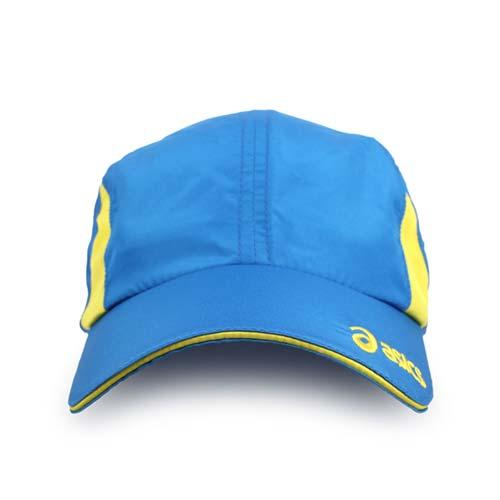 ASICS 運動帽-慢跑 路跑 帽子 鴨舌帽 防曬 亞瑟士 藍黃 F