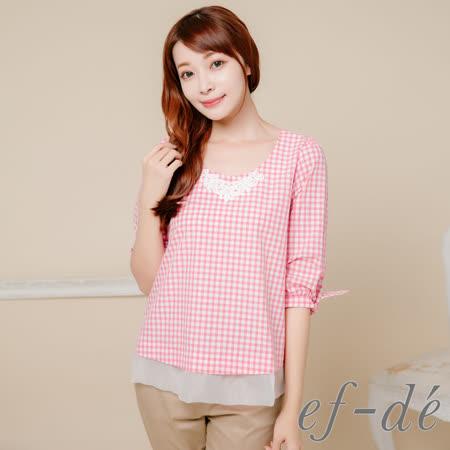【ef-de】GO春夏 蕾絲飾領綁結五分袖格紋襯衫(紅)