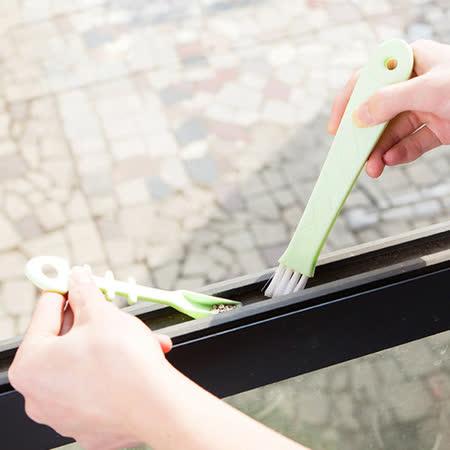 【PS Mall】魚造型窗戶溝槽隙縫刷 清潔刷凹槽 電腦鍵盤刷 廚房清潔刷子 死角隙縫 附畚箕 2入 (J553)