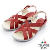 Travel Fox 多彩網紋休閒皮涼鞋-917351-(酒紅-344)(女)