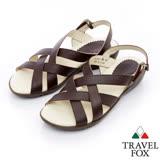 Travel Fox 多彩網紋休閒皮涼鞋-917351-(咖啡-376)(女)