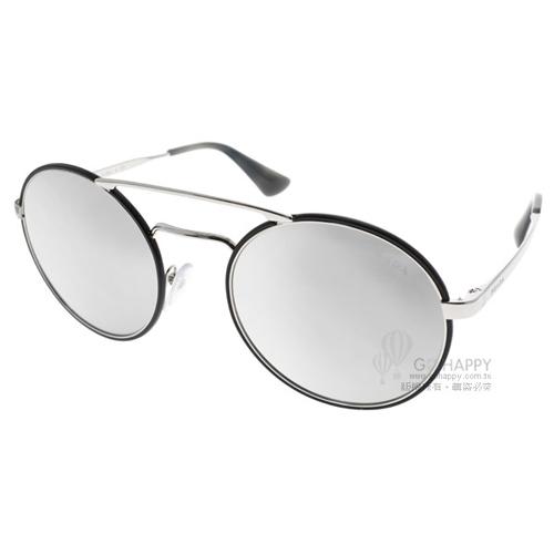 PRADA水銀太陽眼鏡 復古風造型款 (黑-銀) #SPR51SS 1AB2B0