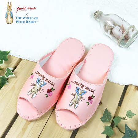 【クロワッサン科羅沙】Peter Rabbit 室內鞋 花兔顏皮拖 淺粉26CM