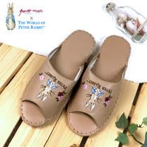 【クロワッサン科羅沙】Peter Rabbit 室內鞋 花兔顏皮拖 棕色28CM