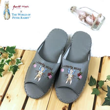 【クロワッサン科羅沙】Peter Rabbit 室內鞋 花兔顏皮拖 灰色28CM