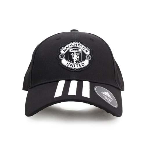 ADIDAS 運動帽-曼聯-愛迪達 帽子 防曬 壓舌帽 遮陽 慢跑 黑白 F