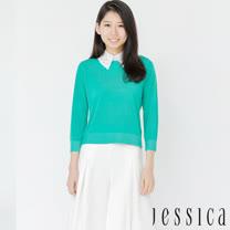 【JESSICA】清新甜美素面簍空領片造型上衣(綠)