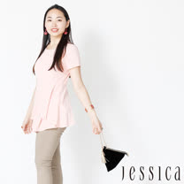 【JESSICA】都會時尚傘擺不規則造型上衣