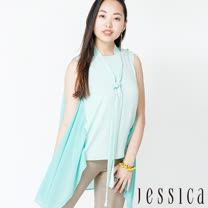 【JESSICA】氣質拼接修身無袖上衣(附綁帶)