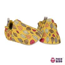 英國 POCONIDO 純手工柔軟嬰兒鞋 (秋葉-黃)