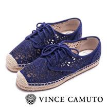 VINCE CAMUTO 蔚藍海岸 細緻簍空雕花草編鞋-藍色