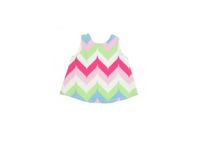 美國 RuffleButts 小女童甜美荷葉邊搖擺衣洋裝__菱形彩虹  BRSW13