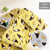 【享夢城堡】 單人床包薄被套三件式組-蛋黃哥X馬來貘-黃.灰