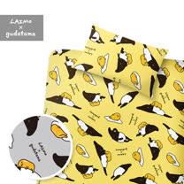 【享夢城堡】 單人床包枕套3.5X6.2二件式組-蛋黃哥X馬來貘-黃.灰