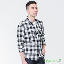 bossini男裝-格紋長袖襯衫01灰白