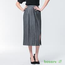 bossini女裝-百摺長裙銀灰