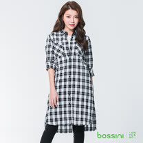 bossini女裝-格紋長袖襯衫01黑