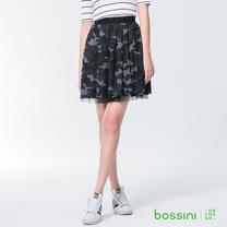 bossini女裝-網紗短裙黑