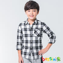 bossini男童-格紋長袖襯衫01灰白