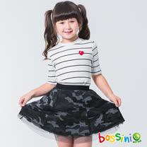 bossini女童-圓領短袖上衣01灰白