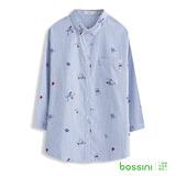 bossini女裝-滿版印花七分袖襯衫02藍