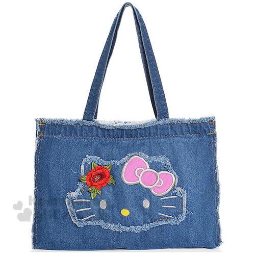 〔小禮堂〕Hello Kitty 牛仔布側背袋~深藍.大臉.蝴蝶結.花~