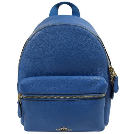COACH 經典馬車LOGO荔枝皮革小巧後背包.藍