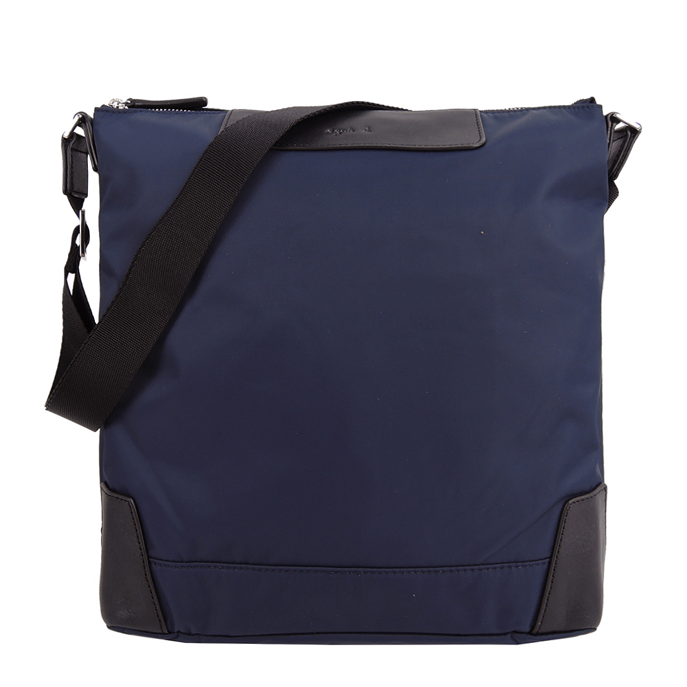 agnes b.皮革壓紋LOGO尼龍斜背包(小/藍)