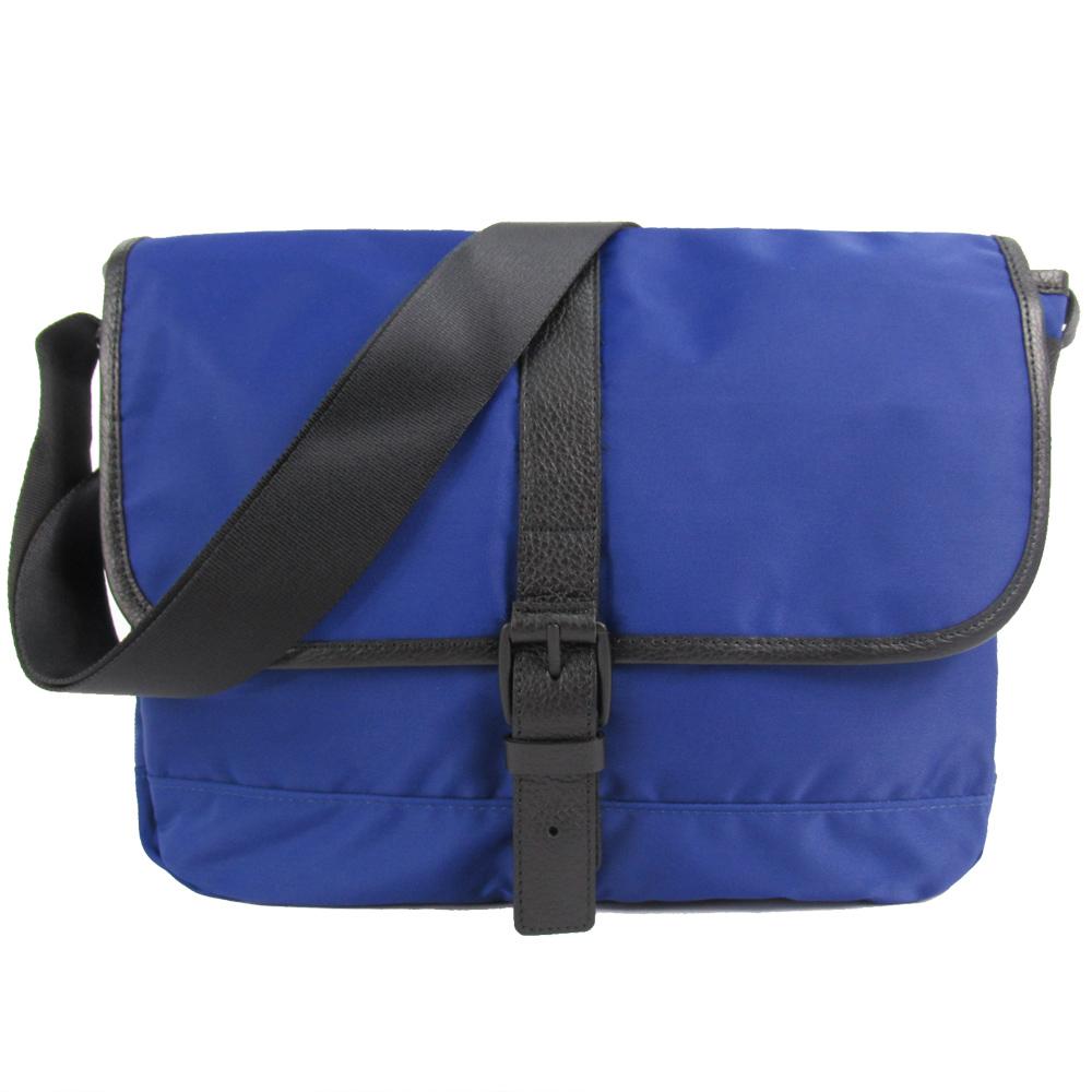 agnes b.皮帶釦式皮革滾邊斜背包(小/深藍)
