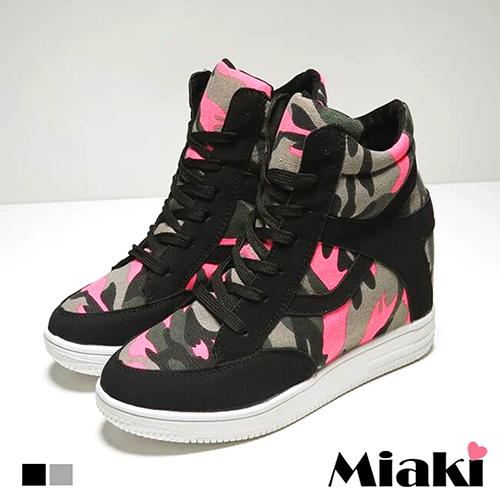 【Miaki】球鞋韓街頭潮流內增高迷彩綁帶運動鞋 (灰色 /  黑色)