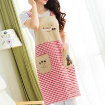 口袋設計紅格紋圍裙(NT-UM02)
