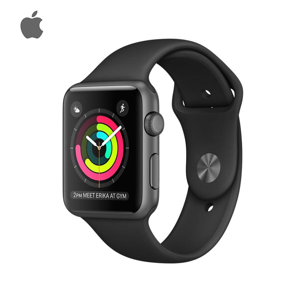 Apple Watch Series 2 42mm 太空灰色鋁金屬錶殼搭配黑色運動型錶帶-加贈德國液態玻璃鍍膜+保護貼