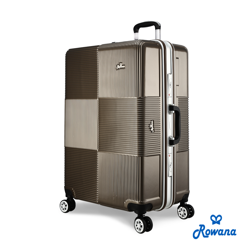 Rowana 格紋旋風29吋PC鋁框旅行箱/行李箱 (可可棕)