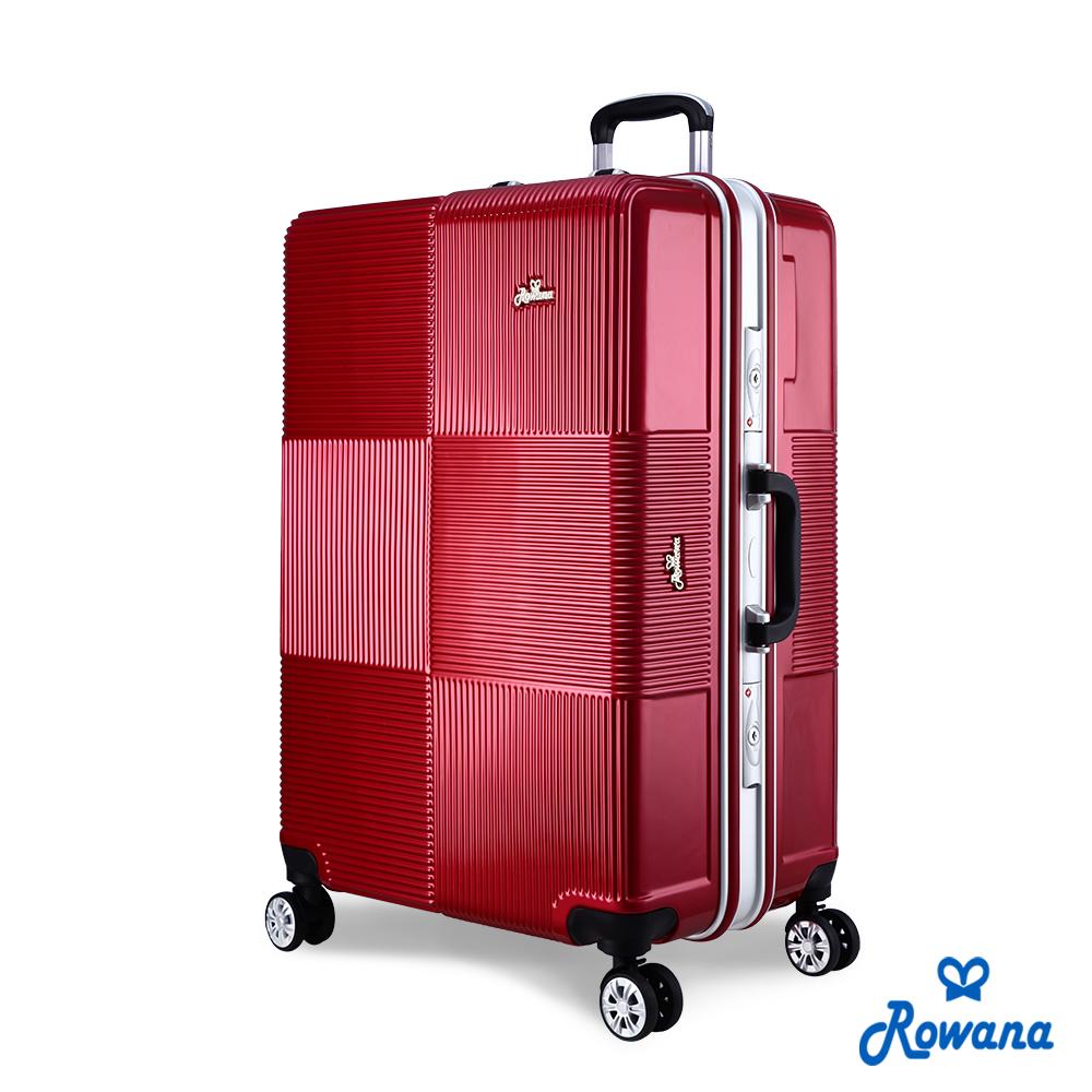 Rowana 格紋旋風29吋PC鋁框旅行箱/行李箱 (絢麗紅)