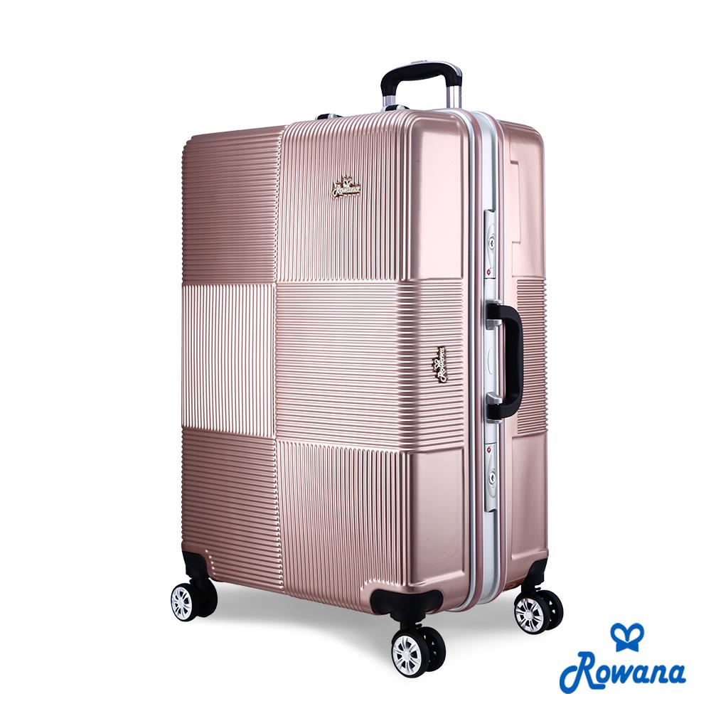 Rowana 格紋旋風29吋PC鋁框旅行箱/行李箱 (玫瑰金)