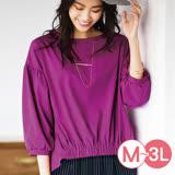 日本ANNA LUNA 預購-下擺抽褶前短後長七分袖上衣(共四色/M-3L)