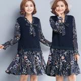 【麗質達人中大碼】9130深藍色假二件式印花洋裝(XL-5XL)
