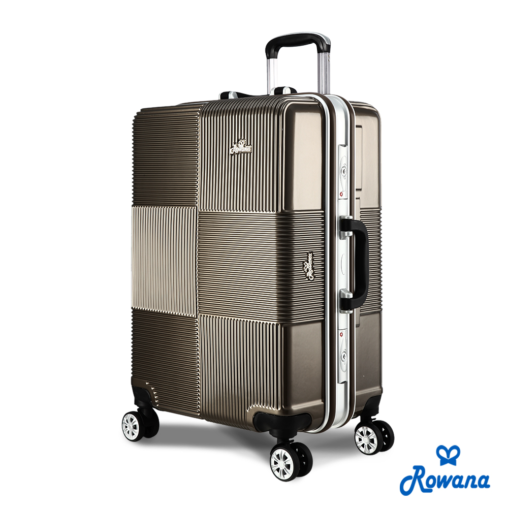 Rowana 格紋旋風25吋PC鋁框旅行箱/行李箱 (可可棕)