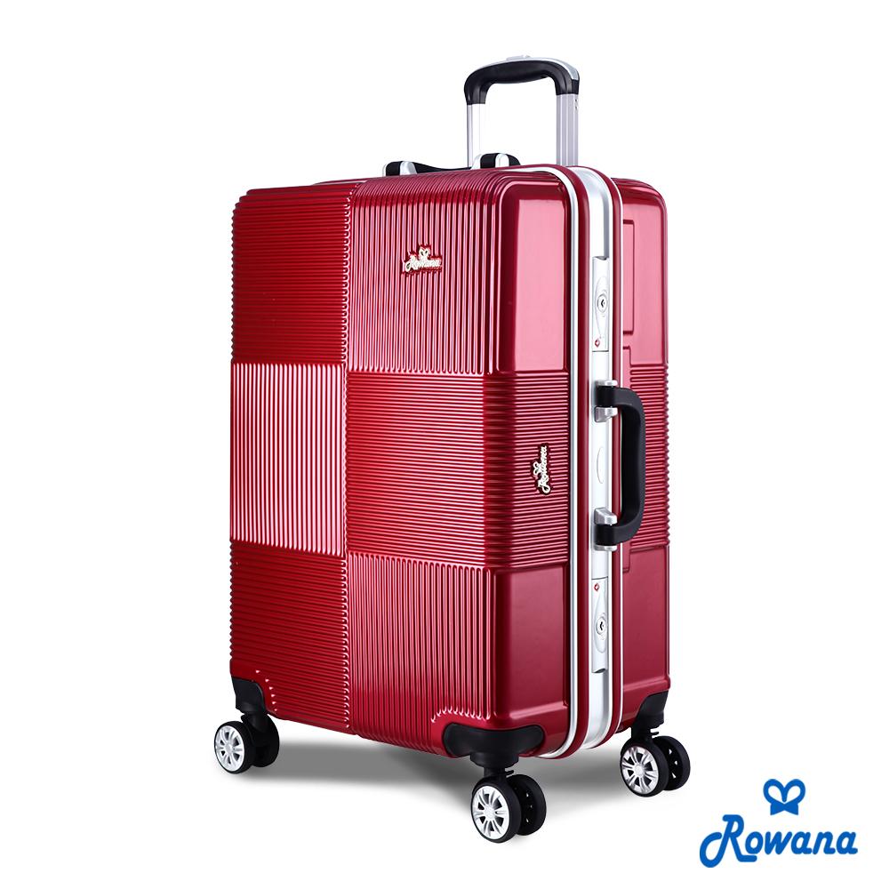Rowana 格紋旋風25吋PC鋁框旅行箱/行李箱 (絢麗紅)