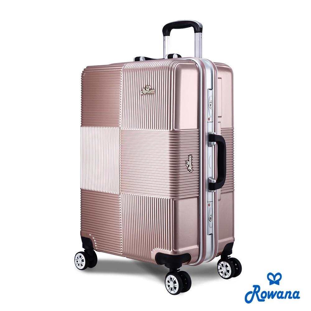 Rowana 格紋旋風25吋PC鋁框旅行箱/行李箱 (玫瑰金)