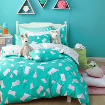 OLIVIA 《 湯姆貓 綠 》 單人床包枕套兩件組 童趣系列