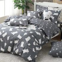 OLIVIA 《 湯姆貓 灰 》 加大雙人床包枕套三件組  童趣系列